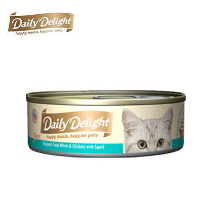 Picture of Daily Delight Pure Skipjack Tuna White & Chicken with Squid 80g
