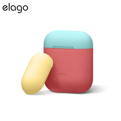 Picture of Elago Airpods Duo Case - Italian Rose w Coral Blue/Yellow