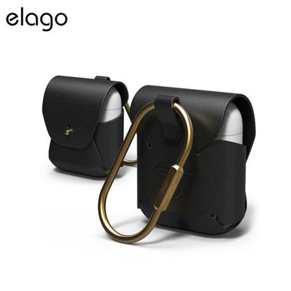 Picture of Elago Genuine Cow Leather Case for Airpods - Black