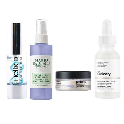 Picture of HELIX-D FACE SERUM 35 ML + Mario Badescu Facial Spray With Aloe, Chamomile and Lavander + THE ORDINARY Niacinamide 10% + Zinc 1% (30ml) + Banila Co Instant Fix Prime Primer Finish Powder