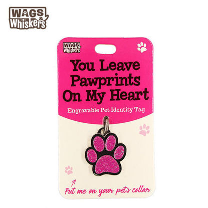 Picture of Wags & Whiskers Pet ID Tag - Pawprints Pink Dog