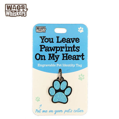 Picture of Wags & Whiskers Pet ID Tag - Pawprints Blue Dog
