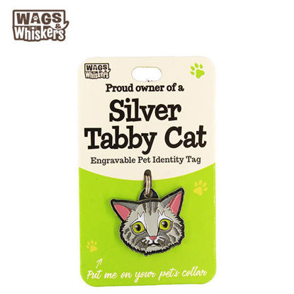 Picture of Wags & Whiskers Pet ID Tag - Silver Tabby Cat