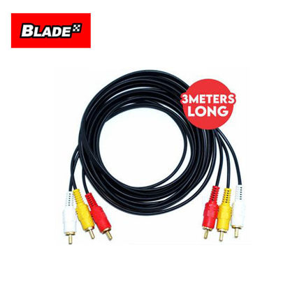 Picture of Blade 3 Meters 3 RCA to 3 RCA Male AV Video Audio Cable Gold Plated