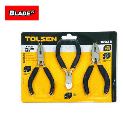 """Picture of Tolsen 3PCS Pliers Set 115mm 4.5"""" 10038"""