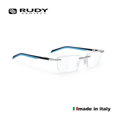 Picture of Rudy Project Spyllo Rimless Optical Eyewear In Chrome Black Turquoise With Demo Lenses (Size:55-18)