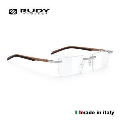 Picture of Rudy Project Spyllo Rimless Optical Eyewear In Chrome Sand Brown With Shape A Demo Lenses Ml31Sm93A (Size:55-18)