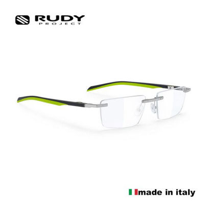 Picture of Rudy Project Spyllo Rimless Eyeglasses In Chrome Grey Lime With Demo Lenses (Size:55-18)