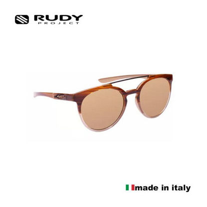 Picture of Rudy Project Astroloop Sunglasses in Brown Streaked Gold in Laser Bronze Lenses