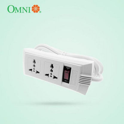 Picture of Omni Universal Outlet Extension Cord with Switch 1.83 Meter Cord Length 2500W 10A 250V 2 Gang