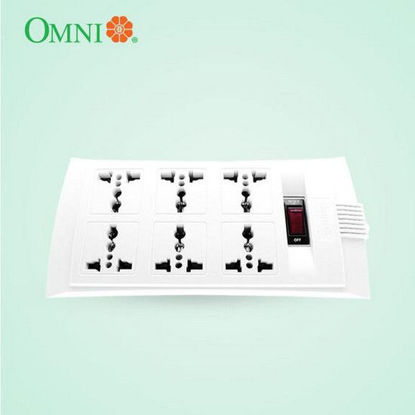 Picture of Omni Universal Outlet Extension Cord with Switch 1.83 Meter Cord Length 2500W 10A 250V 6 Gang