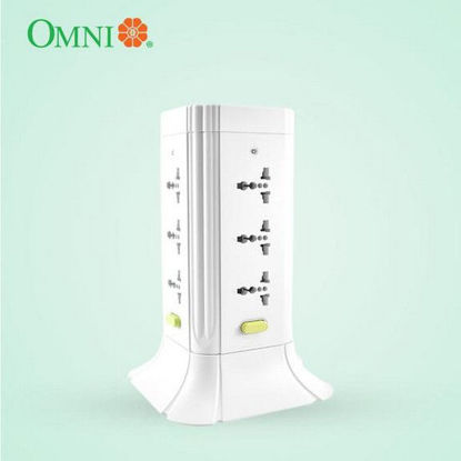 Picture of Omni Universal Tower Extension Cord with Switch 1.83 Meter Cord Length 2500W 10A 250V 12 Gang