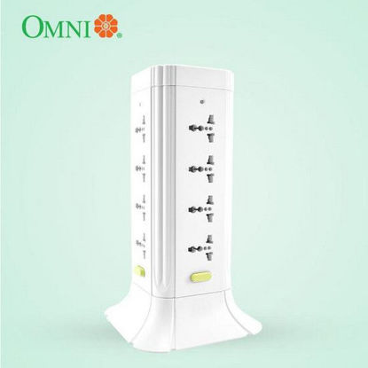 Picture of Omni Universal Tower Extension Cord with Switch 1.83 Meter Cord Length 2500W 10A 250V 16 Gang
