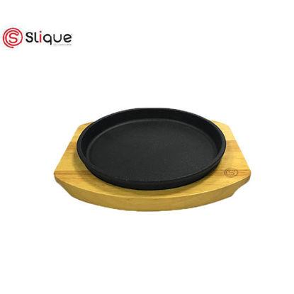 Picture of Slique Premium Cast Iron Round Sizzling Plates with Original Rubber Wood Base 20cm