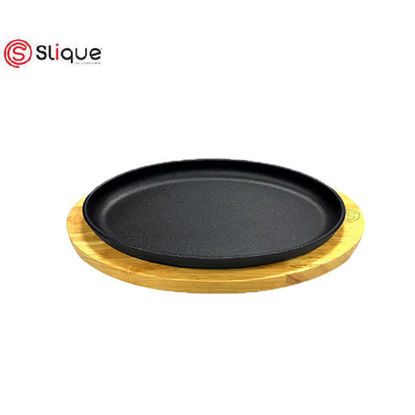 Picture of Slique Premium Cast Iron Oval Sizzling Plates with Original Rubber Wood Base 25cm