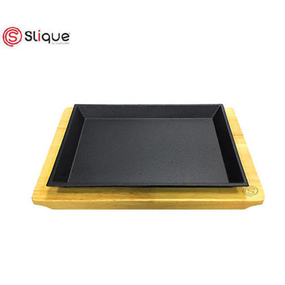 Picture of Slique Premium Cast Iron Rectangular Sizzling Plates with Original Rubber Wood Base 25cm
