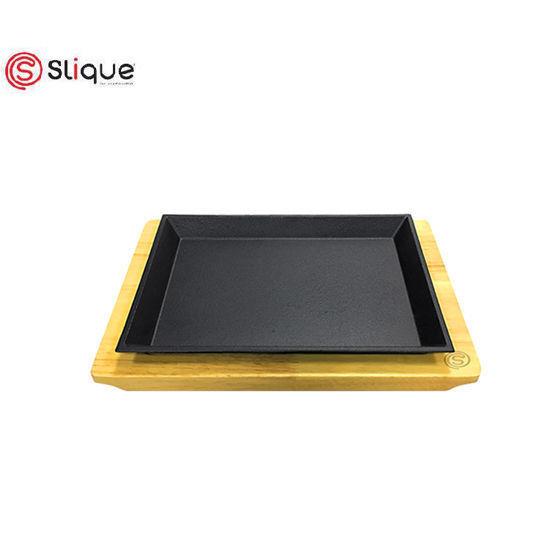 Picture of Slique Premium Cast Iron Rectangular Sizzling Plates with Original Rubber Wood Base 22cm
