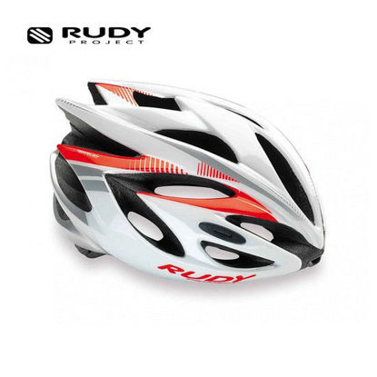 Picture of Rudy Project Cycling Helmet Rush White - Red Fluo (Shiny) Large 59 - 61 cm