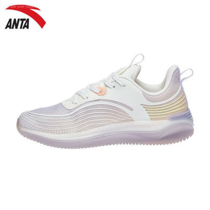 Picture of Anta Women Running Culture Running Shoes -  Ivory White-Light Purplish Grey-Pink