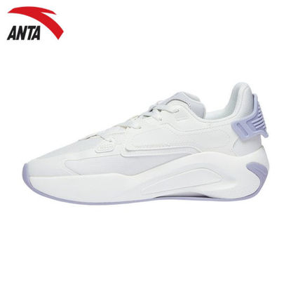 Picture of Anta Women Lucy X-Game Shoes - Ivory White/Purple/Chip Grey 7