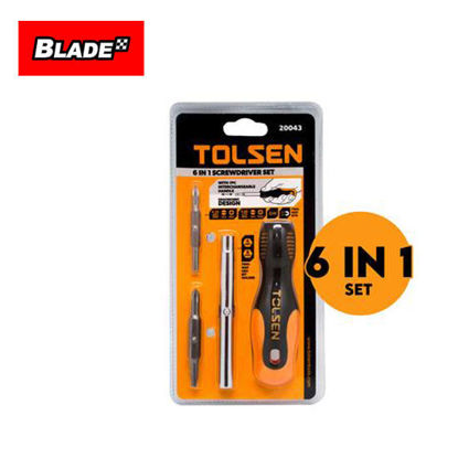 Picture of Tolsen 6 in 1 Screwdriver Set 20043 with 1pc Interchangeable Handle