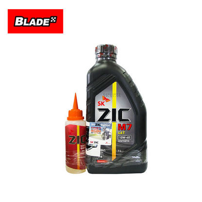 Picture of SK ZIC M7 4T 10W-40 Synthetic 1 Liter + Scooter Gear Oil 80W-90 Synthetic 100mL