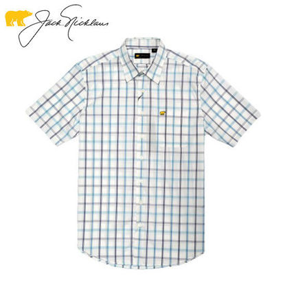 Picture of Jack Nicklaus Black Label 4 Colors Large Plaid Woven Shirt Bright White - Polo Shirt