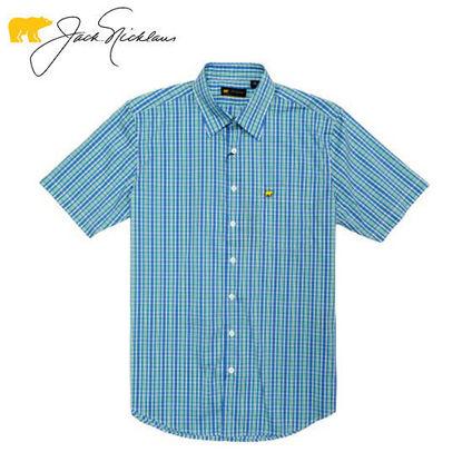 Picture of Jack Nicklaus Black Label 4 Colors Medium Plaid Woven Shirt Marina - Polo Shirt