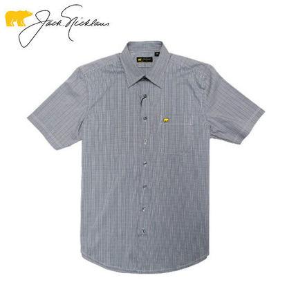 Picture of Jack Nicklaus Black Label 2 Colors Mini Plaid Woven Shirt Blue Depths - Polo Shirt