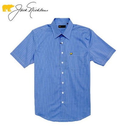 Picture of Jack Nicklaus Black Label 2 Colors Mini Plaid Woven Shirt Marina - Polo Shirt
