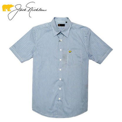 Picture of Jack Nicklaus Black Label 4 Colors Mini Plaid Woven Shirt Bright White - Polo Shirt
