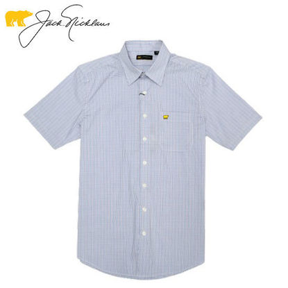 Picture of Jack Nicklaus Black Label 4 Colors Mini Plaid Woven Shirt Marina - Polo Shirt
