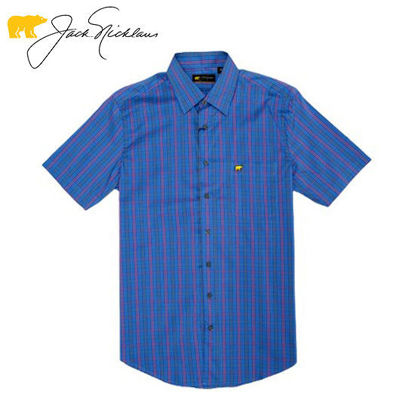 Picture of Jack Nicklaus  Black Label Multi Color Check Woven Shirt Star Sapphire - Polo Shirt
