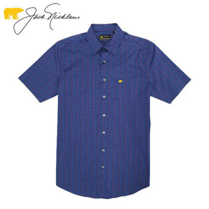 Picture of Jack Nicklaus Black Label Multi Color Tattersal Woven Shirt Blue Depths - Polo Shirt