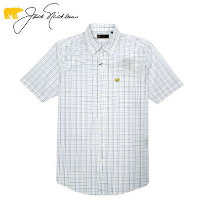 Picture of Jack Nicklaus Black Label Multi Color Tattersal Woven Shirt Bright White - Polo Shirt