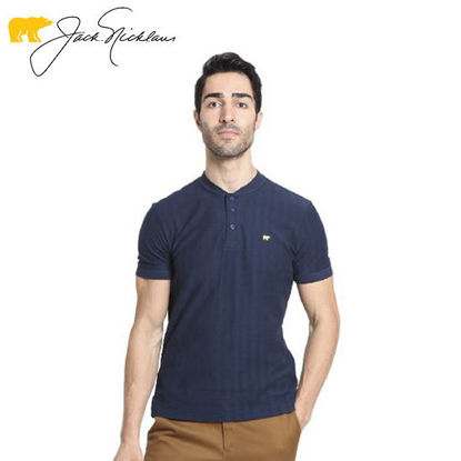 Picture of Jack Nicklaus Blue Label Wilcove Cotton Textured Polo w/ Baseball Collar Slim Fit Navy - Polo Shirt