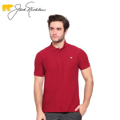 Picture of Jack Nicklaus Blue Label Glenvar Cotton Textured Polo w/ Slim Collar Slim Fit Burgundy - Polo Shirt