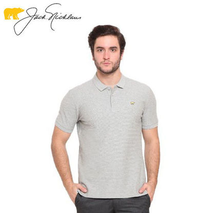 Picture of Jack Nicklaus Blue Label Glenvar Cotton Textured Polo w/ Slim Collar Slim Fit Misty Grey - Polo Shirt