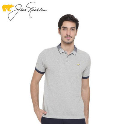 Picture of Jack Nicklaus Blue Label Colvend Cotton Polo w/ Knit Gradient Collar Slim Fit Misty Grey - Polo Shirt