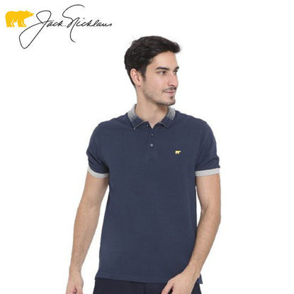 Picture of Jack Nicklaus Blue Label Colvend Cotton Polo w/ Knit Gradient Collar Slim Fit Navy - Polo Shirt