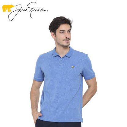 Picture of Jack Nicklaus Blue Label Weston Cotton Spandex Microyarn Polo w/ Flat Knit Collar Slim Fit Tango Blue - Polo Shirt
