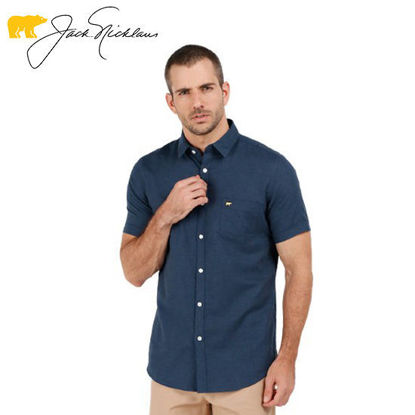 Picture of Jack Nicklaus Blue Label Rossberg Cotton Heather Textured Polo w/ Pocket Slim Fit Navy - Polo Shirt