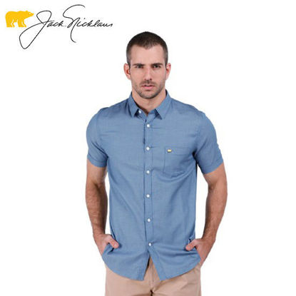 Picture of Jack Nicklaus Blue Label Cashel Cotton Yarn Dyed Textured Polo w/ Pocket Slim Fit Tango Blue - Polo Shirt