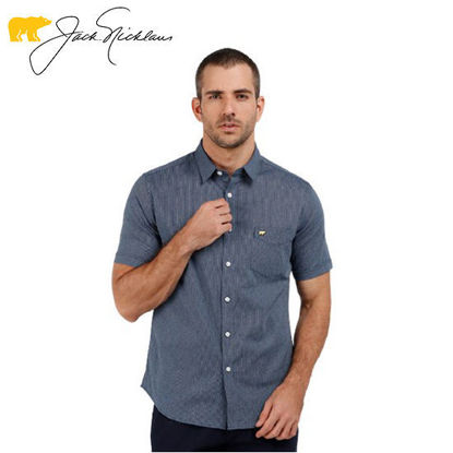 Picture of Jack Nicklaus Blue Label Mouton Cotton Linen Textured Polo w/ Pocket Slim Fit Navy - Polo Shirt