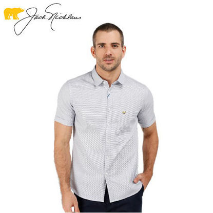 Picture of Jack Nicklaus Blue Label Wiston Cotton 3 Color Textured Polo w/ Pocket Slim Fit White - Polo Shirt