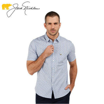 Picture of Jack Nicklaus Blue Label Roscam Cotton Motif Check Clipping Print w/ Pocket Slim Fit Tango Blue - Polo Shirt