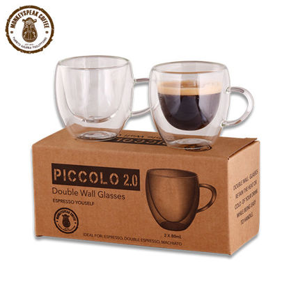Picture of Monkeyspeak Coffee Piccolo 2.0 Double Wall Espresso Glass (with handle)