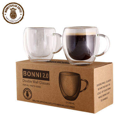 Picture of Monkeyspeak Coffee Bonni 2.0 Double Wall Glass (with handle)