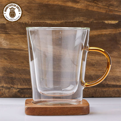 Picture of Monkeyspeak Coffee Double Wall Glass Mug With Colored Handle 300ml