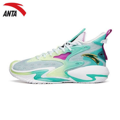 """Picture of Anta Shock The Game 5 """"Crazy Tide"""" 3.0 2021 Summer Basketball Shoes - White/Fluorescent green"""